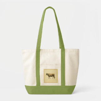 Country Tan Cow Beige Stripe Gingham Check Design Tote Bag