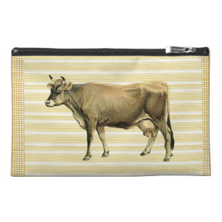 Country Tan Cow Beige Stripe Gingham Check Design Travel Accessory Bag
