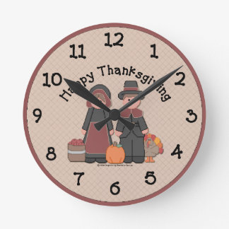 Country Thanksgiving Wall Clock