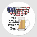 Country: The Official Music of Beer Round Sticker