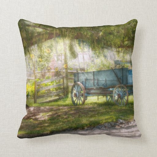 Country - The old wagon out back Pillows