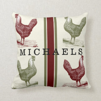 Country Toile Rustic Country Vintage Chicken Name Throw Pillow