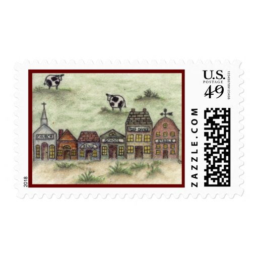 Country town with cows postage stamp