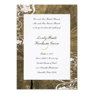 Country Tree Rings Wood Wedding Invitation