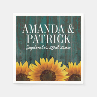 Country Turquoise Wood + Rustic Sunflower Wedding Paper Napkin