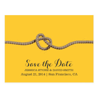 Country Twine Knot Yellow Save the Date Wedding Postcard