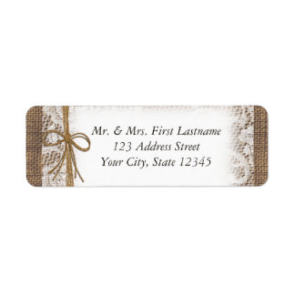 Country Twine Lace and Burlap Return Address Label
