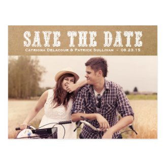 Country Typography Vintage Save the Date Postcard