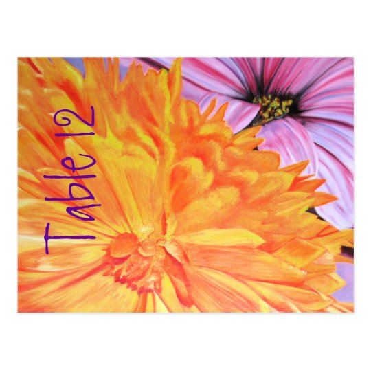 Country vibrant daisies table number & menu cards