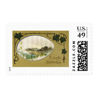 Country Vignette with Ivy Vintage Easter Postage Stamps