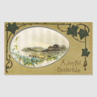 Country Vignette with Ivy Vintage Easter Rectangular Sticker