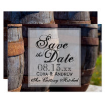 Country Vineyard & Rustic Wine Barrel Wedding Invitation