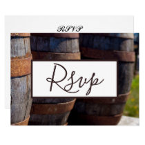 Country Vineyard & Rustic Wine Barrel Wedding RSVP Invitation