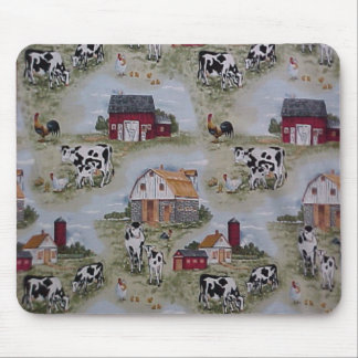Country Vintage Dairy Farm Cows Roosters Mousepad