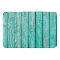 Country Vintage Distressed Old Blue Green Wood Bathroom Mat