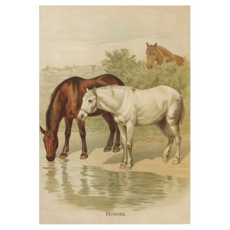 Country Vintage horses home office decor wood