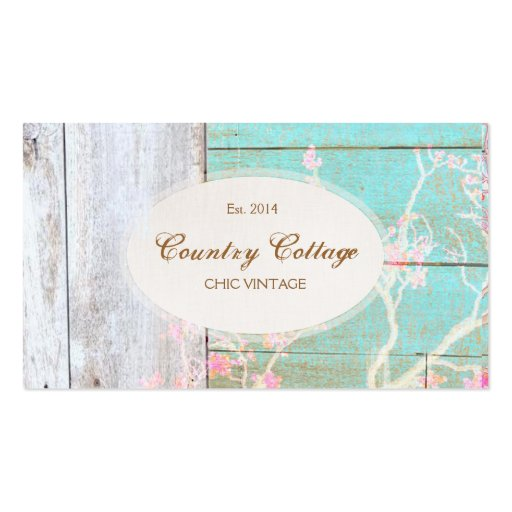 Country Vintage Shabby Rustic Wood Chic Boutique Double Sided Standard Business Cards Pack Of