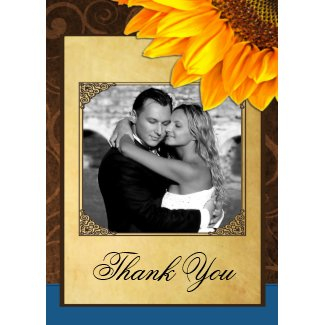 Country Vintage Sunflower Wedding Thank You Cards invitation