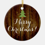 Country Vintage Wood Brown Green Merry Christmas Ornaments