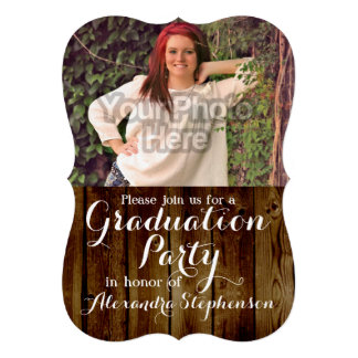 Country Vintage Wood Graduation Party Photo Card