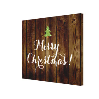 Country Vintage Wood Merry Christmas Canvas Print