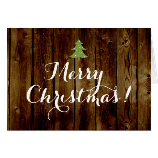 Country Vintage Wood Merry Christmas Cards