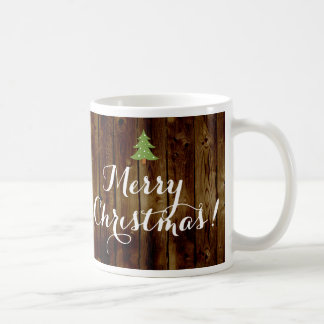 Country Vintage Wood Merry Christmas Coffee Mug