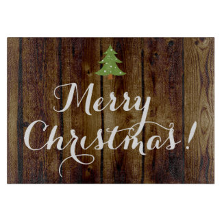 Country Vintage Wood Merry Christmas Cutting Board