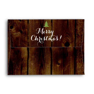 Country Vintage Wood Merry Christmas Envelope