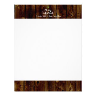 Country Vintage Wood Merry Christmas Letterhead