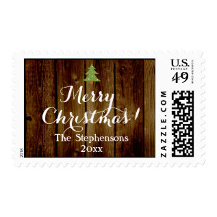 Country Vintage Wood Merry Christmas Personalized Postage at Zazzle