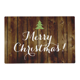 Country Vintage Wood Merry Christmas Placemat