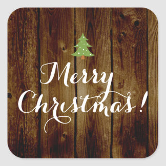 Country Vintage Wood Merry Christmas Square Sticker