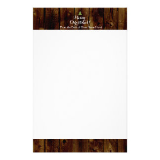 Country Vintage Wood Merry Christmas Stationery