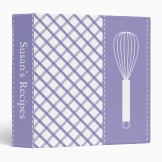 Country Violet Plaid Whisk Recipe Binder
