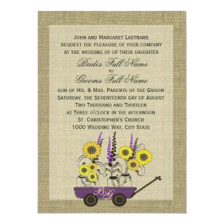 Country Wagon & Burlap Wedding 5.5x7.5 Paper Invitation Card