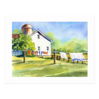 Country Wash Day Postcard