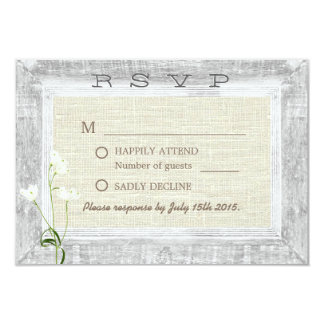 Country Weathered Wood Frame Rustic Wedding RSVP Card