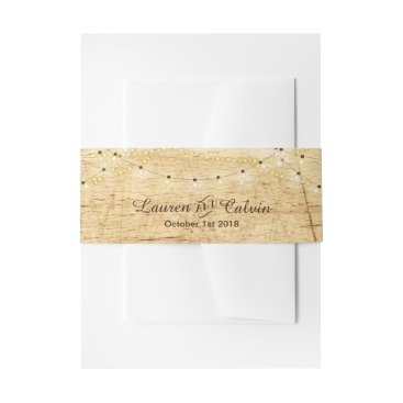 langdesignshop Country wedding belly band with lights on wood