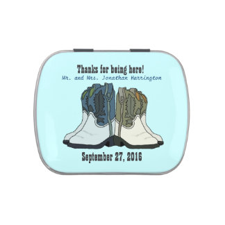 Country Wedding Cowboy Boots Candy Tin Favors