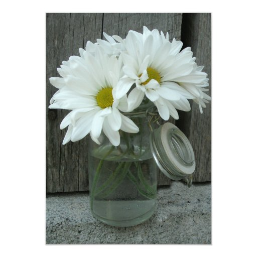 Country Wedding Invitation Daisies Mason Jar