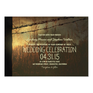 country wedding invitation with rural fence