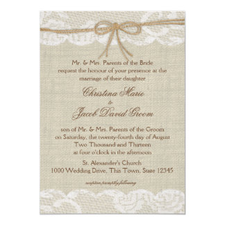 Country Wedding Lace and Burlap Card