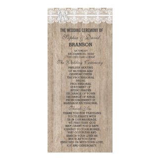 Country Wedding Lace Old Barn Wood Custom Program