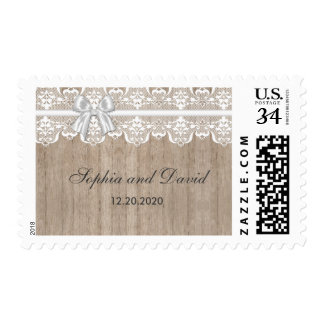 Country Wedding Lace Old Barn Wood Monogram Stamp