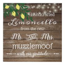 Country Wedding Reception Favor Sign Limoncello |