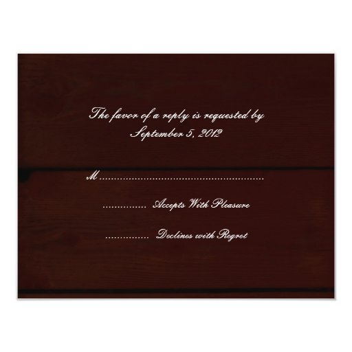 Country Wedding RSVP 4.25x5.5 Paper Invitation Card