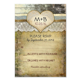 """country wedding RSVP cards 3.5"""" X 5"""" Invitation Card"""