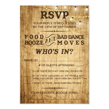langdesignshop Country wedding RSVP for rustic wedding Card