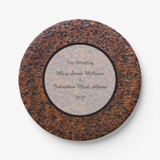 Country Wedding Rusted Steel Wedding Keepsake 7 Inch Paper Plate